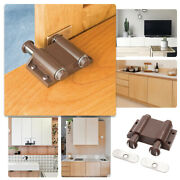 24x Brown Damper Buffer Double Magnetic Touch Latch Cabinet Door Push Open Catch
