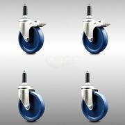 316ss Solid Poly Swvl Ex Caster Set 4 W/5 Blue Wheels And 7/8 Stems - 2 W/total