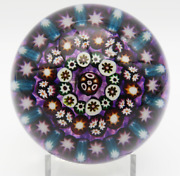 Large Unusual Vintage Paul Ysart Pattern Concentric Millefiori Glass Paperweight
