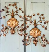Large Antique Italian Pair Tole Gilded Romantic Wall 3 Lights Sconces