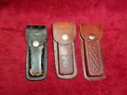 3 Vintage Leather Belt Case For Buck, Schrade And Unknown Pocket Knifes Up To 5