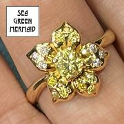 18k Yellow Gold 1.7 Tcw Fancy Canary Yellow And Pink Diamond Daisy Flower Ring