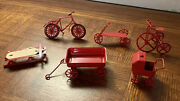 Vintage Rare Old Fashion Dollhouse Red Wagon Tricycle Bike Sled Scooter Stroller