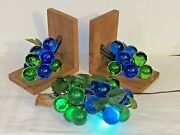 Mcm Grapes Lucite Cluster Light And 2 Vintage Book Ends 3pcset Blue Green Acrylic