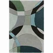Forum Fm-7157 10and039 X 14and039 Rectangle Rug In Dark Green/ivory/black/gray/mint/aqua