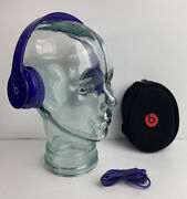 Beats By Dr. Dre Solo Hd Drenched Headband Headphones Purple W/ Wire And Case