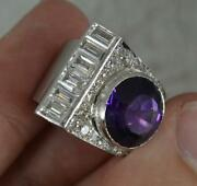 1940s Heavy Platinum Amethyst And 1.5ct Diamond Cocktail Cluster Ring