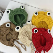Solid Color Cartoon Frog Knitted Hat Winter Warm Hat Skullies Cap Beanie For If