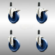 316ss Solid Poly Swvl Ex Caster Set 4 W/5 Blue Wheels And 1-1/4 Stems - 2