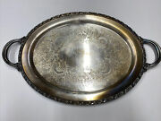 Silver Plated Gallery Tray Wm Rogers 580 Oval Handled Tray 21 X 13