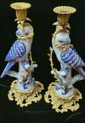 Vintage Pair Herend Porcelain And Bronze Blue And White Parrot Candlesticks
