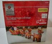 16 Ft Lighted Santa And Sleigh Airblown Christmas Inflatable Giant Size Reindeer