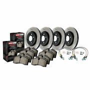 Stoptech Front And Rear Disc Brake Rotor - Brake Pads And Lines Sport - Sold As Kit