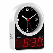 Kwanwa Analog Digital Led Alarm Clock For Bedroom Battery Operated Only And E...