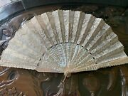 Antique Silk And Lace Hand Fan Stunning Large Mother Of Pearl Sticks And Faucon Box