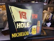 Michelob Golf 19th Hole Light Sign Beer Bar Pub Wall Hanging Art Vintage 18x18