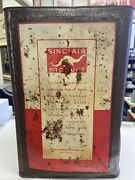 Vintage Metal Square Sinclair Motor Oil Can Empty White Dinosaur Pic 5 Gallon
