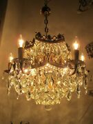 Antique Vnt French 6 Arms And Basket Bohemia Crystal Chandelier 1960and039s 22 Andoslash Dandrsquo