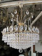 Vintage By Ernst Palme Real Crystal Chandelier Lamp 1970and039s