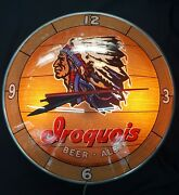 Vintage Double Bubble Iroquois Beer Ale Round Wall Clock