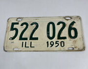 1950 Illinois Il License Plate 522 026 Ill White And Green Vintage/antique