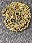 """Vintage Exquisite 18k Solid Gold Rope Necklace 5.25mm 28.4"""" Rare Circa 1960s"""