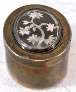 Sterling Silver Trinket Or Pill Box With Tree Design Under Glass Lid