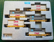 N Kato 106-6196 Ttx Set Gunderson Maxi-well Cars W/containers Maersk And Gray One