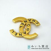 Brooch Coco Mark Gold Fittings 98 Logo Spring Collection Vintage E 8-321