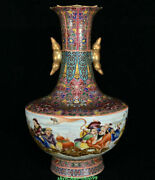 20 Marked Old Chinese Colour Enamels Porcelain Palace Eight Immortals Bottle