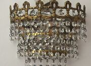 Pair Antique Wall Lamps, Brass/crystal - French/spanish.