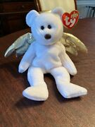 Ty Beanie Baby Rare Retired Halo Ii Angel Bear W/ Brown Nose 2000 Gold Wings