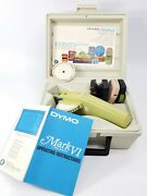 Vintage 70s Dymo Label Maker Mark Vi Case Extra Printing Wheel And 4 Tapes