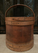 Antique Wood Firkin 11.5 In Tall With Lid And Handle. Stamped Andldquoexcelsior Extraandrdquo.
