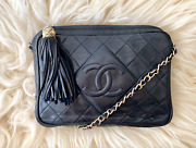 Vintage Black Lambskin Camera Tassel Chain Cc Shoulder Bag 80and039s 90and039s