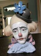 Lladro 5130 Pensive Clownand039s Head With Bowler Hat Gloss