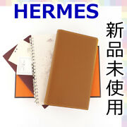 Hermes Agenda Vision Notebook Pocketbook Cover Address Book Brown Yellow 8-422