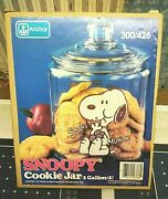 """Vintage Peanuts Snoopy Cookie Jar Glass """"i Love Cookies"""" New In Box Rare Find"""