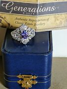 Generation 1912 Vintage Extremely Rare 80s Genuine Diamond And Tazanite S/s Ring