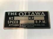 Ottawa Mule Team Tractor Id Plate-brand New / Vintage Antique Lawn Garden Tag