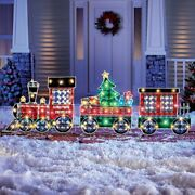 3 Piece Led Lighted Shimmering Christmas Train Outdoor Garden Lawn Ornament