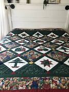 """Vintage Christmas Sampler Hand Quilted Quilt Queen King Teddy Bear Tree 102x82"""""""