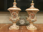 Pair Of Beautiful Hand Painted / Gold Gilt Antique Italian Urns / Vase With Lids