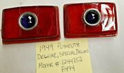 1949 Plym. Special Deluxe Red Glass Tail Lamp Lens Pair W/blue Dot 1244752 B474