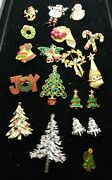 Vintage Lot Of Christmas Brooches, Pins, Earrings 19 Total Pieces C0072