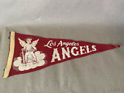 1960s 50s Los Angeles Angels Pennant - Red Angel On Cloud Rare Worn