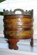Large Antique Norwegian Grotambar Box Footed Wood Staved Container