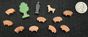 Vintage German Made Miniature Wooden Toys - Shepard, Sheep, Tree And Dog Scene