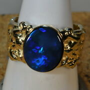 Solid Australian Black Opal Mans Solid 14k Yellow Gold Ring 16211