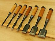 Japanese Chisel Nomi Vintage Boxwood Handle High Grade Set Of 7 From Japan A549